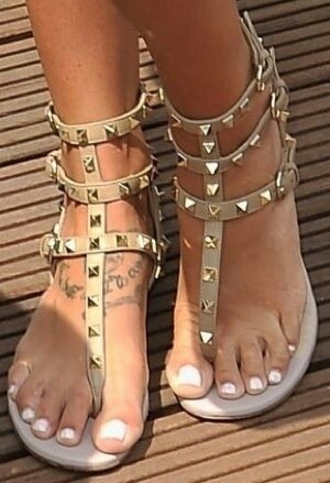 shoes sandals beige gladiators spikes spiked ankle sandals