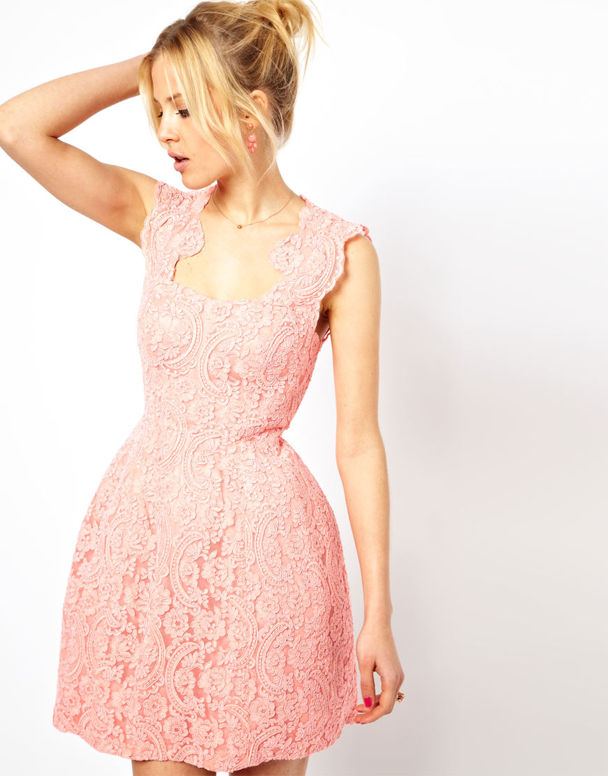 ASOS Cupped Structured Skater Dress in Lace Nude Pink UK 18 EU 46 US 14 RRP£180   eBay