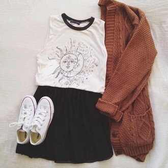 rust knitted cardigan cardigan fall outfits muscle tee moon and sun sun moon converse black skirt outfit outfit idea cable knit oversized cardigan