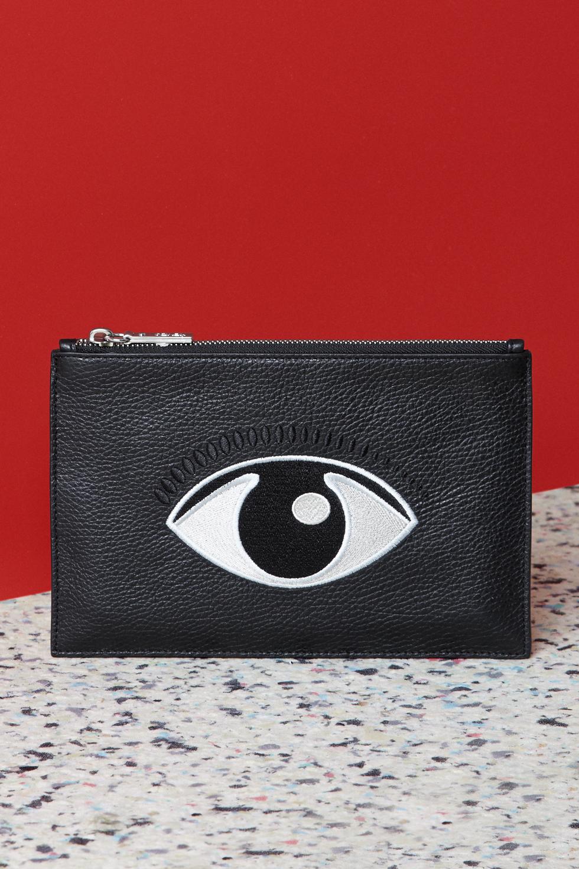 Kenzo Eye-embroidered leather pouch - Kenzo Eye Women - Kenzo E-shop | Kenzo.com