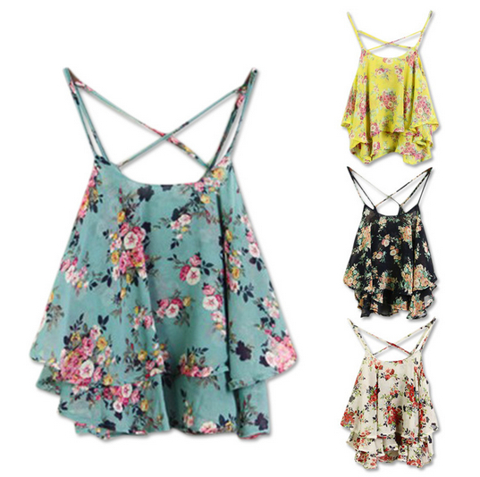 2014 Summer Floral Prints Chiffon Camisole Sleeveless Spaghetti Strap Tops Flowers Chiffon Blouses Women LSP6300 Free Shipping-inCamis from Apparel & Accessories on Aliexpress.com