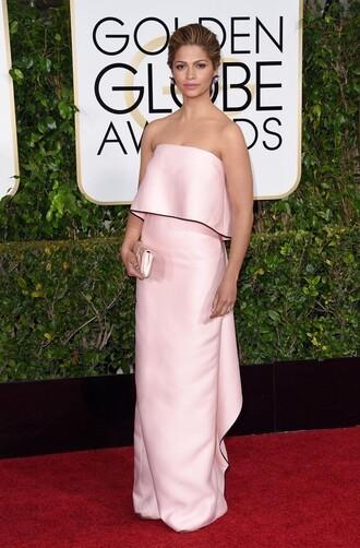camila alves golden globes 2015 clutch pink dress bustier dress
