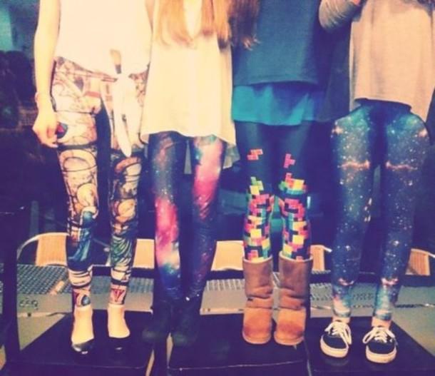pants leggings galaxy print stars glitter space