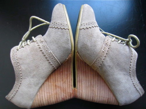 Aldo Beige Taupe Suede Oxford Brogues Lace Up Wedge Ankle Booties Heels 36 6 5 | eBay