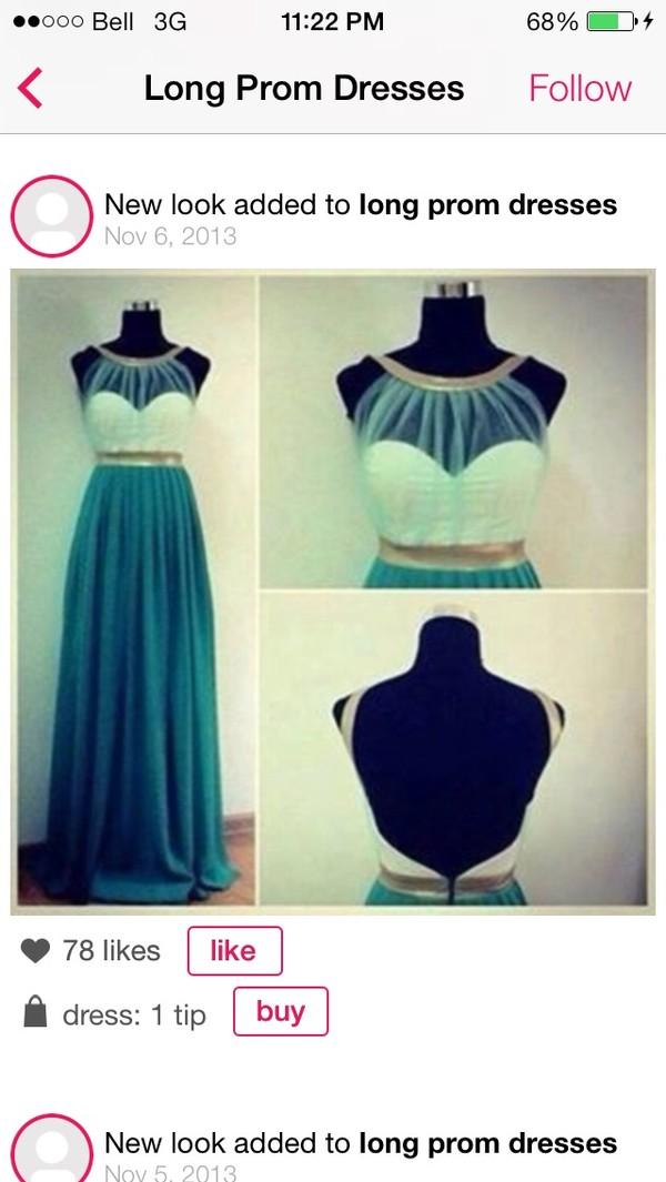 dress teal long prom dress