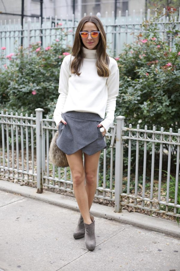 something navy skirt t-shirt shoes bag sunglasses