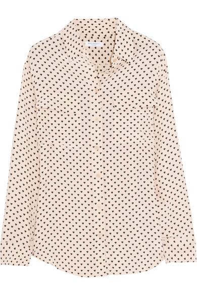 Equipment|Signature heart-print washed-silk shirt|NET-A-PORTER.COM