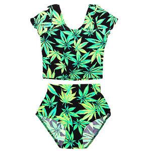 New 2 Piece 420 Pot Leaf Weed Plant Smoke Swim One Piece Supreme Milk Obey Cute | eBay