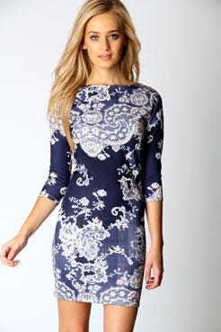 Darcey Printed Sleeve Bodycon Dress at boohoo.com