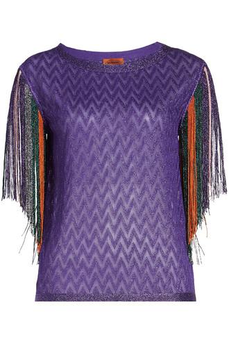 top fringed top metallic purple