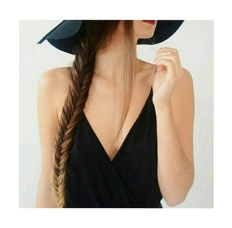 top low v neck low v-neck v neck black top fishtail braid fedora hat style fashion girly on point on point clothing style gorgeous