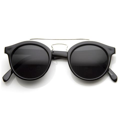 Retro Dapper Cross Bar P3 Round Aviator Sunglasses 8700                           | zeroUV