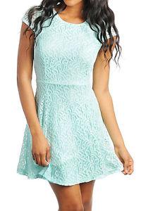 Lace Cap Sleeves Zipper Back Summer Floral Mint Aqua Casual Dressy Dress | eBay
