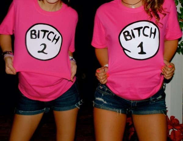 t-shirt shirt pink bitch shorts denim white black wow funny