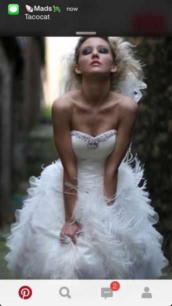 dress wedding dress feathers
