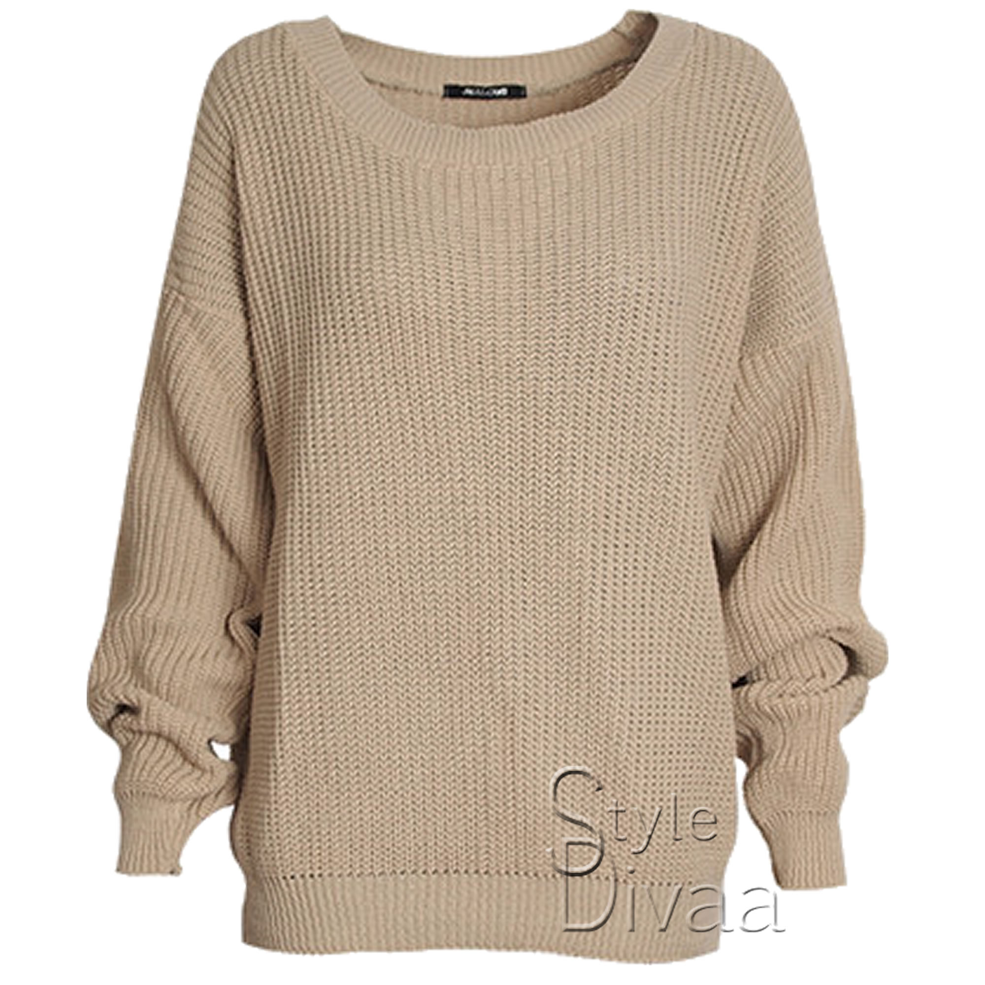 Ladies Oversized Baggy Jumper Knitted Womens Sweater Chunky Knit Top Jumpers   eBay