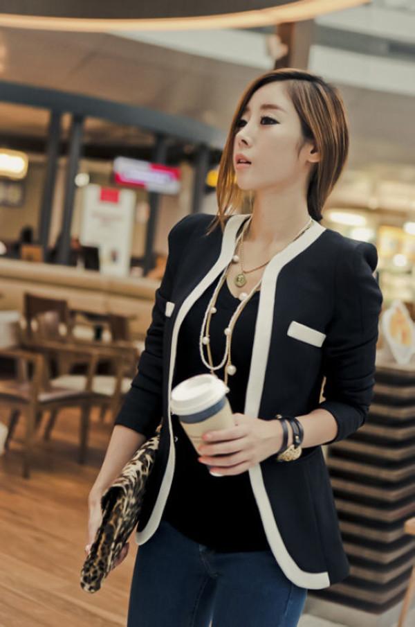 coat blazer women slim fit fashion style girl casual