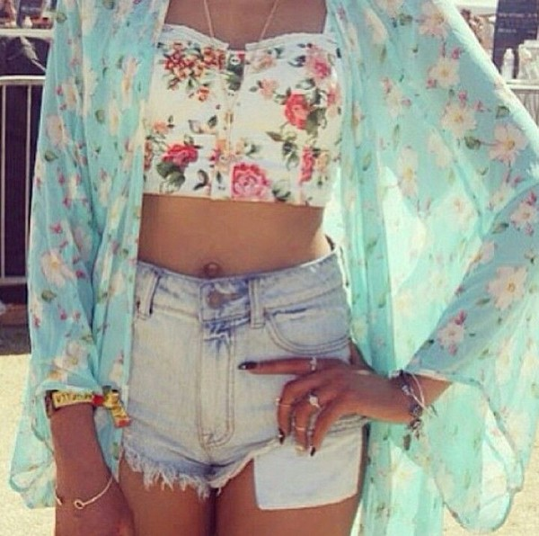 jacket floral cute hippie blue white yellow pink jeans crop tops fashion amazing pretty beautiful sheer shirt top pullover coat long sleeves 3/4 sleeve fashionista kimono hipster boho bohemian crop tops bracelets tank top shorts