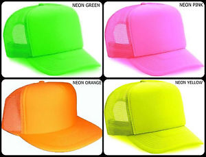 Neon Trucker Mesh Hat Cap Snap Back Baseball Plain Orange Green Pink Yellow   eBay