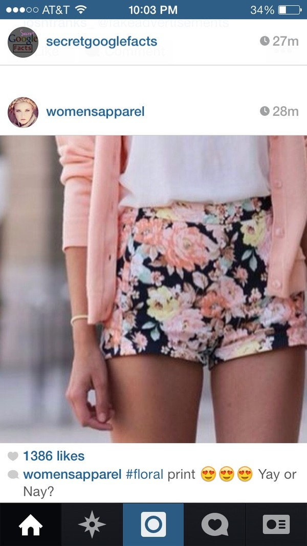 shorts floral sweater flowers coral