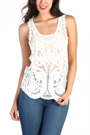 LoveMelrose.com From Harry & Molly | Lace Top - Ivory