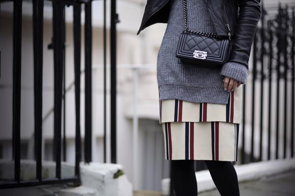the fashion guitar skirt sweater jacket bag