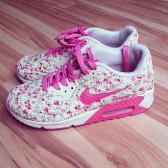 shoes pink flower nike sneakers