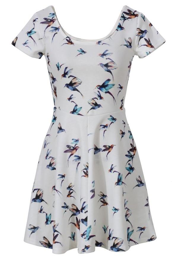 dress birds beige dress