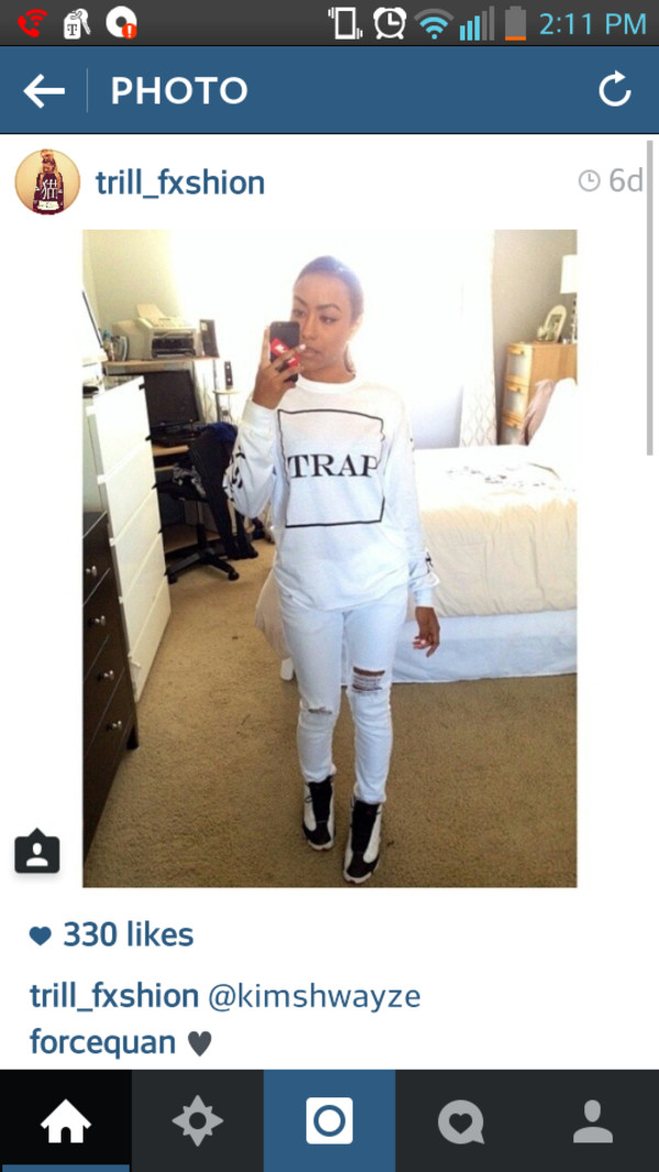 sweater crewneck trap white crew neck
