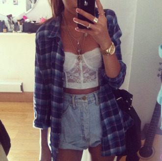 crop bustier bustier crop top plaid shirt blue shirt denim shorts summer outfits lace bralette gold watch vans warped tour