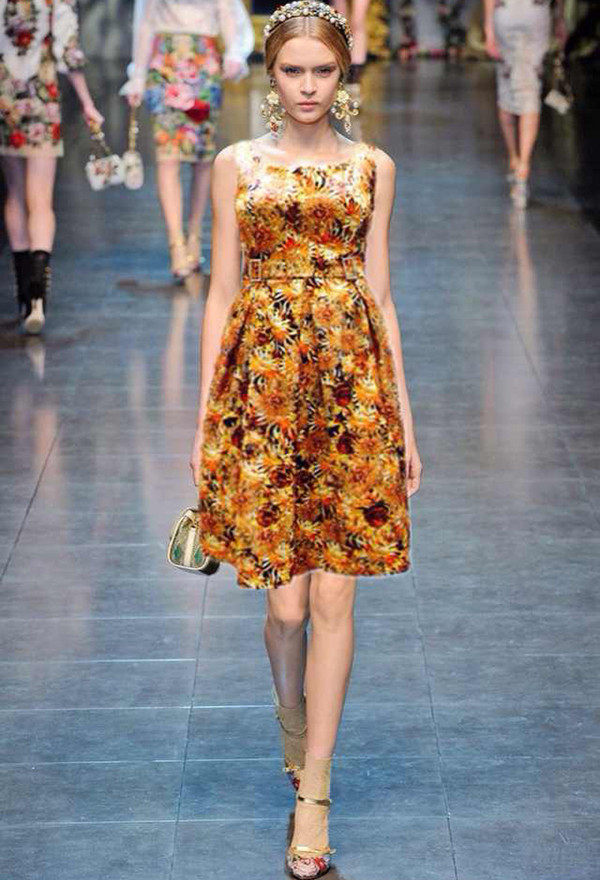 dress flowers print tank dress 2014 new a line dress