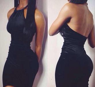 dress black velvet bodycon trendy black dress mid dress halter neck dress short velvet dress black velvet short dress