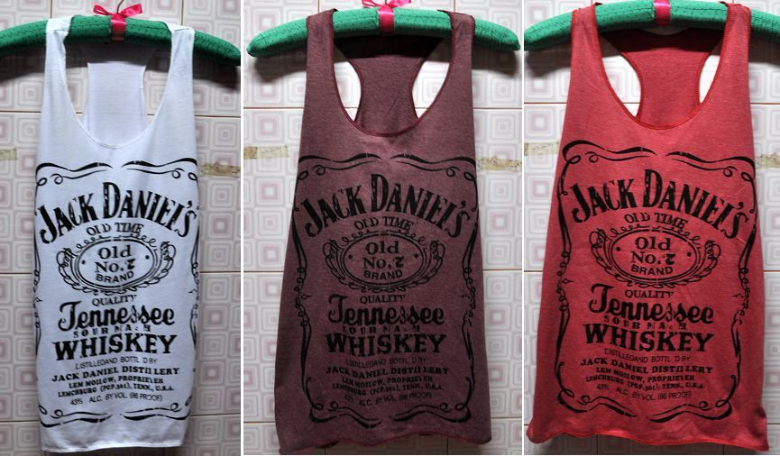 T Shirt Jack Daniels Vest Tank Top Ladies Women Girls Crimson White Carmine   eBay