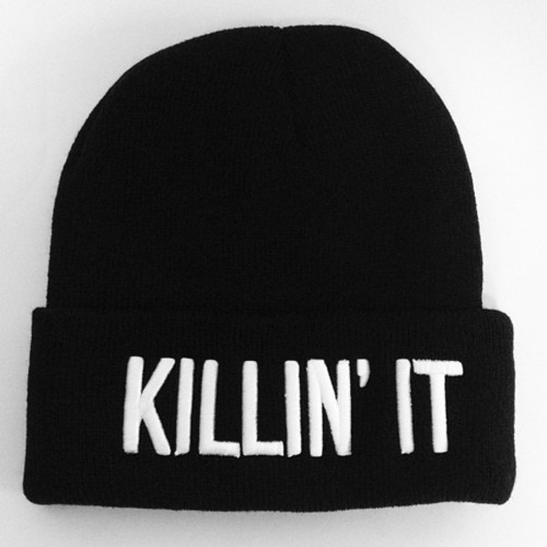 hat beanie killin it cute cool black and white black white quote on it yolo