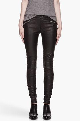 BLK DNM Black Biker Inspired Stretch Leather Pants for women | SSENSE
