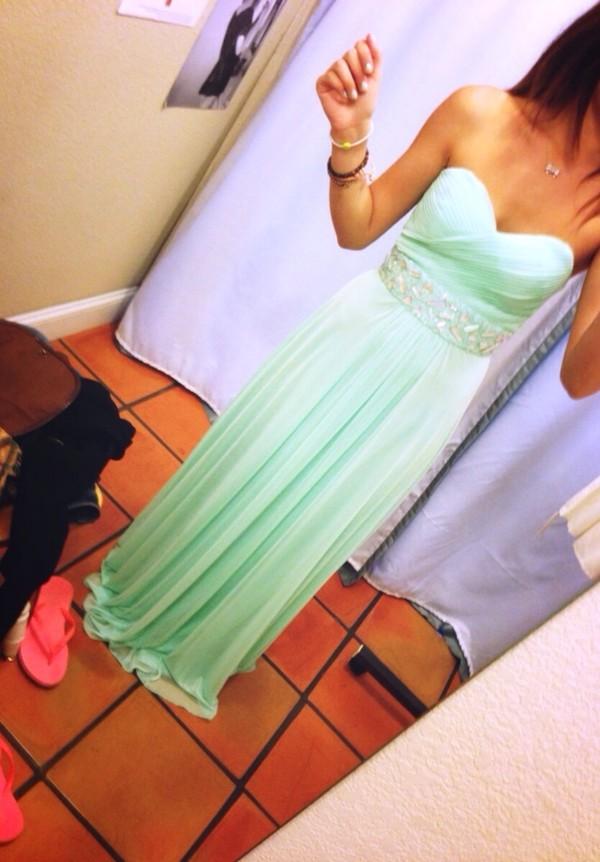 dress mint green long sequins prom