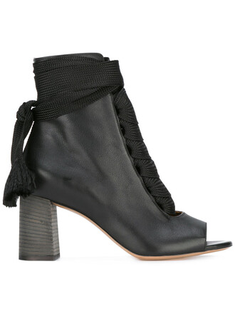 boot open women leather black shoes