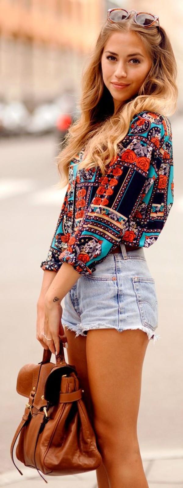 bag fashion bags blouse shirt shorts floral shirt colorful