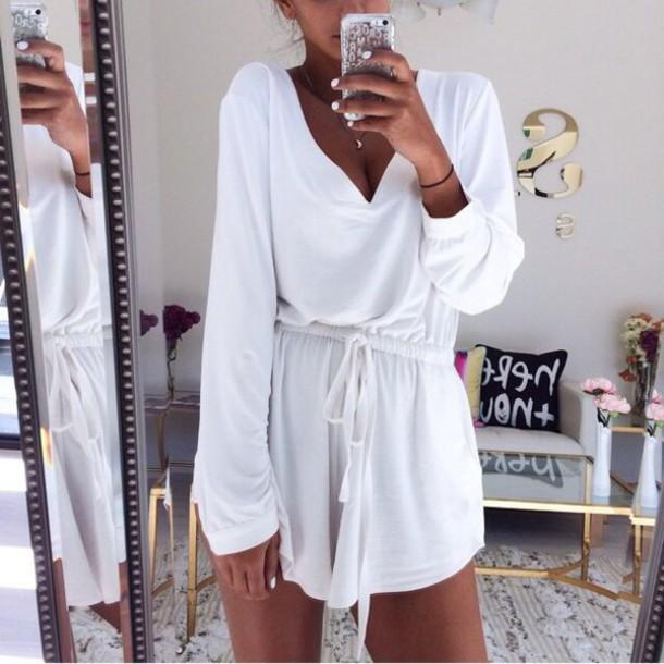 dress tie dress white dress long sleeve dress fashion trendy romper jumpsuit