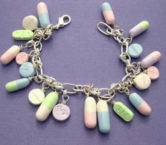 jewels pastel pills bracelets chain charm bracelet pretty pastel goth tumblr jewelry