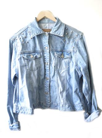 jacket vintage denim jacket vintage coat denim vintage levis spikes studded studs