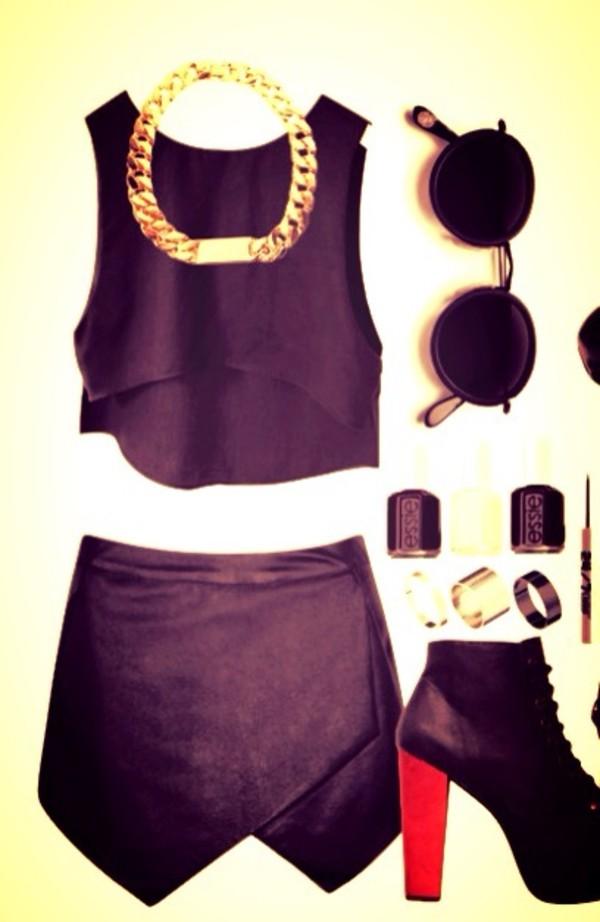 blouse black tank top black t-shirt skirt black leather skirt necklace gold sunglasses black high heels high heels cute high heels beautiful nail polish shirt t-shirt shoes