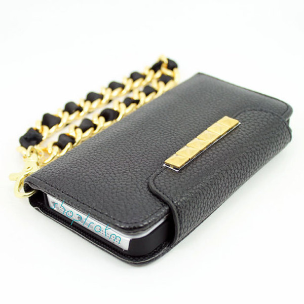 bag chain studs studded phone cover cute phone case htc 1 case iphone 5c black gold ribbon wallet phone case bracelets iphone 4 case iphone 5 case galaxy s3 case galaxy s4 case punk goth hipster