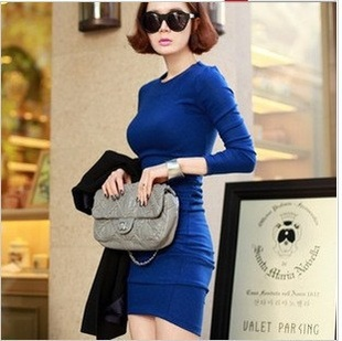 New Fashion Women's Korean dress autumn outfit fashion queen style long sleeve royal blue slim cakes blue dress-in Dresses from Apparel & Accessories on Aliexpress.com