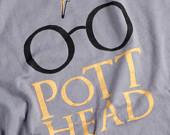 Harry Potter T Shirt   Pott Head Screenprint  The Perfect by NODog