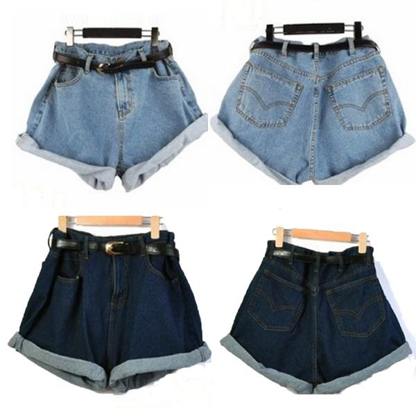 Cool Women High Waisted Oversize Crimping Washed Denim Jeans Shorts Girl Pants   eBay