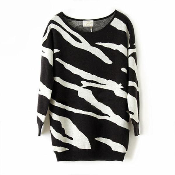 sweater retro leisure contrast color