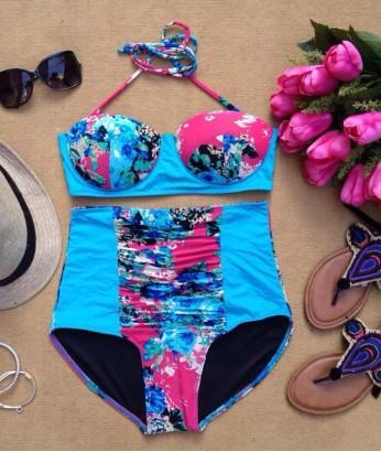 Bouquet Romance High Waist Bustier Bra Bikini - What a perfect statement swimsuit. Flaunt your bubbly person