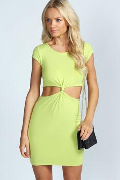 Kelly Cutout Side Cap Sleeve Knot Dress at boohoo.com