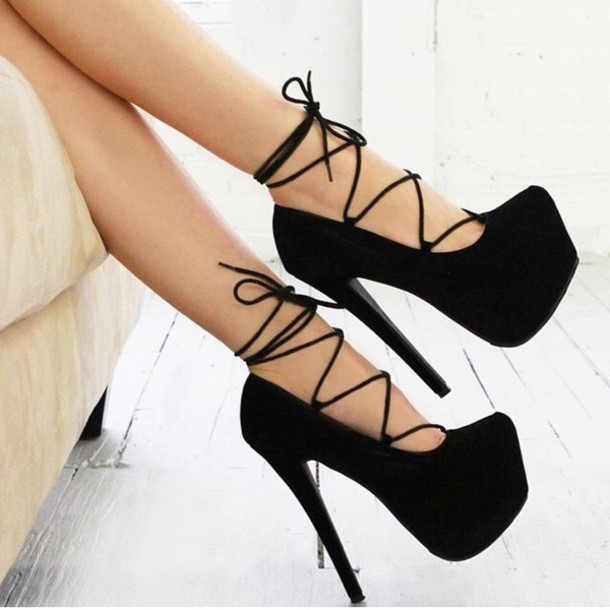 shoes black pumps platform black high heels heels black heels lace up